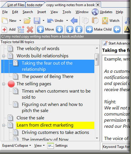 Outlining list in WhizFolders